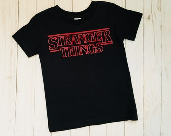 Stranger Things T-shirt--- Inspired design-- baby, kids and adult sizes- stranger things red and black- eleven- upside down