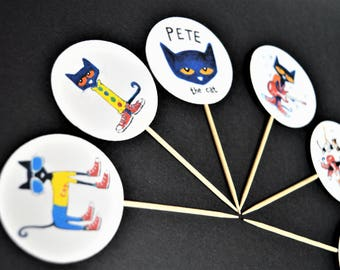Pete the Cat cupcake toppers/food picks/decorations