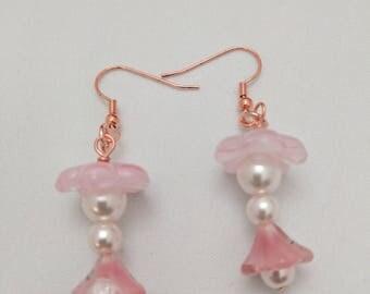 earrings, Pink ,flower,  pearl