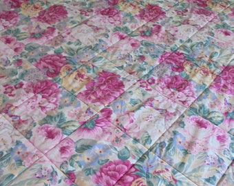 Vintage Sanderson Rose and Peony King Size Quilted Bedspread.Vintage Floral Sanderson Bed Cover.Pretty Floral Bedspread Made in England