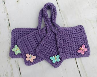Set of 4 bright purple cotton crochet suitcase luggage tags / travel accessories