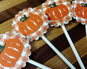 Gingham Pumpkin Cupcake Toppers
