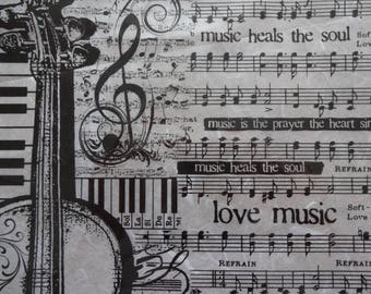 Black and White Paper, Music Paper, Decoupage Paper, Rice Paper, Scrapbooking Paper, Mixed Media Paper, Collage Paper, Notes and Violin