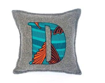 African Print, Alphabet Cushion, Letter Cushion, Personalised Cushion, Decorative Cushion, Initial Cushion