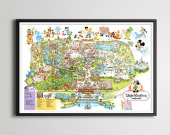 Vintage 1979 DISNEY WORLD Park Map Poster! (24 x 36 or Smaller!) - TomorrowLand - DisneyLand - Magic Kingdom - Mickey Mouse - Wall Decor