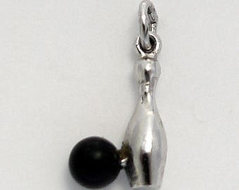 Vintage Bowling Pin and Bowling Ball Charm in Sterling Silver