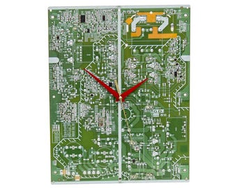 Large Circuit Board Wall Clock, Modern Industrial Look | great unique gift for boyfriends, husbands and geeks in your life