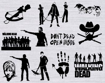 Walking Dead SVG Bundle, Zombie SVG files, Daryl Dixon svg, svg files for silhouette, cricut, vector, cutting file, dxf, clipart,rick grimes