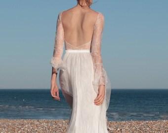 Boho wedding dress, lace sleeves, long sleeve wedding dress, backless, bohemian wedding dress, rustic wedding - Silene & Sonella Two-piece