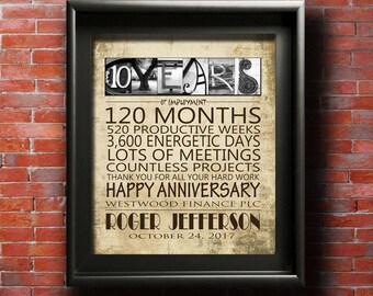 Work Anniversary Gift, PRINTABLE, 10 Year 15 Year 20 Year 25 Year 30 Year 35 Year 40 Year 45 Year 50 Year Work Anniversary Personalized Gift