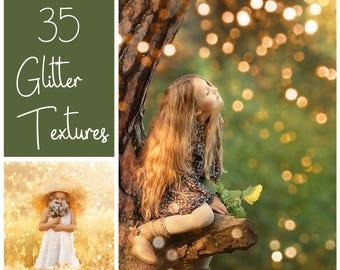 35 Glitter Textures - Glitter Overlays  - Shimmer Textures - Christmas Overlays - Gold Bokeh - Holiday Lights - Shine  - Sparkle Overlays