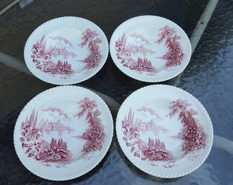 4 Johnson Bros Castle On the Lake Red Transferware Rimmed Soup Bowls