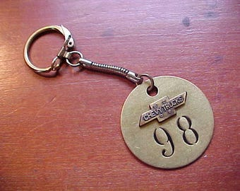 "1940s 1950s Gold Chevrolet Trucks #98 Brass Tool Tag Key Chain Historical Car Swag Custom Crafted From Vintage Findings 'One-Off"" Chevy"