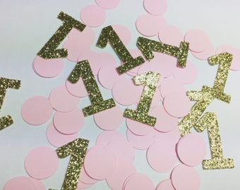 Birthday confetti, first birthday confetti, pink gold party decorations, blues and silver party decorations, baby girl birthday decorations