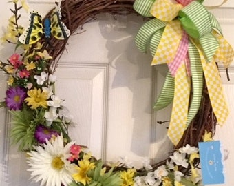 Spring and Summer floral grapevine wreath