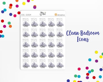 Planner Sticker Icons- Clean Bedroom Icons; Change Sheets, Bed