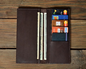 Long Wallet, Chocolate Wallet, Leather Wallet, Men's Wallet, Women's Wallet, Leather Clutch, Travel Wallet