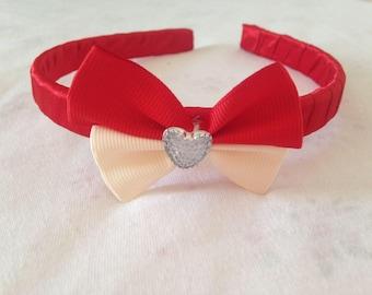 Red heart bow , Satin Girls Hairband, Headband Alice Band, Red Bow, girls headband