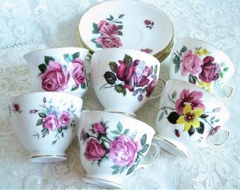 Set cups saucer Roses cups vintage set of 6 cups Tea party Baby shower Bridal shower Wedding decor Afternoon tea Cafe decor Tea house Xmas