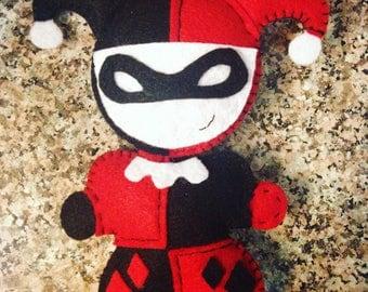Classic Harley Quinn Inspired Felt Plush