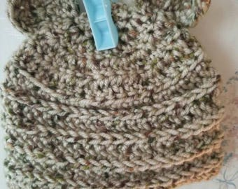 Crocheted Beanie with Bear Ears - Newborn