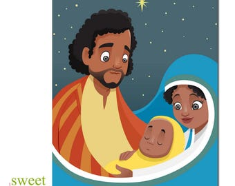 African American Christmas Card | African American Holiday Card | Holy Family Christmas Card | Black Nativity Christmas Card | Boxed Set