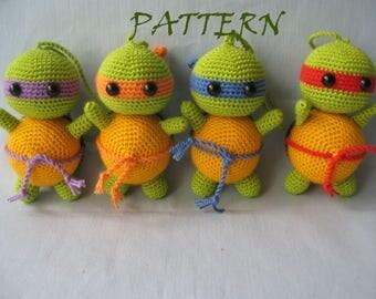 Ninja turtles crochet pattern, TMNT crochet pattern - PDF file