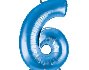 SHIPS FAST - Blue Megaloon Number Balloons, Blue Number 6 Balloon, Giant Number Balloon, Big Number Balloons, Blue Balloon - Any Number