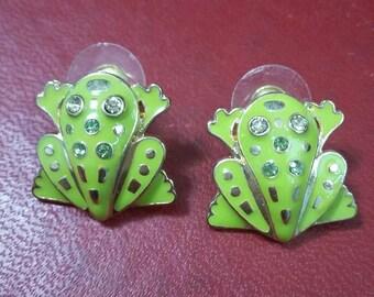 Vintage enamel and crystal Frog/Toad earrings