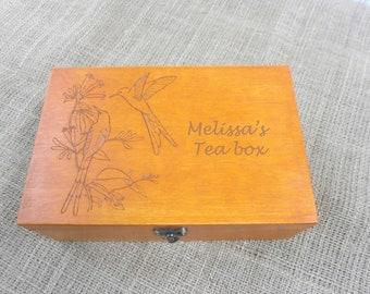 Tea box, holidays gift, Personalized Tea Box, Wood Tea Box, Custom Tea storage, Engraved storage box, Engraved personal box, christmas gift