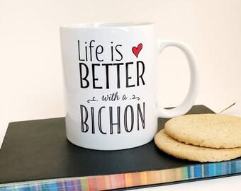 Dog mug, Bichon mug, Bichon Frise, gift for dog, dog lover, ceramic mug, handprinted
