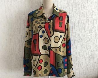 Multicolored geometric print blouse, Vintage 80 / 90's Vineyard, t 38/40/42/44, loose