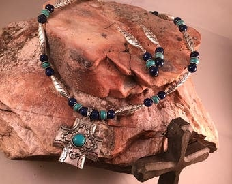 Cross Turquoise and Lapis Jewelry set