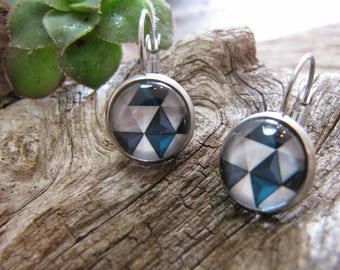 cabochon 12 and 14 mm stainless steel, geometric style 3D blue/grey/white