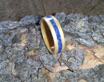 Lapis Lazuli and Oak single inlay bent wood ring