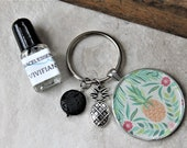 KEYCHAIN with PINEAPPLE charm gift set, diffuser keychain, key ring, aromatherapy, unique gift, one of a kind gift, teacher gift, for her