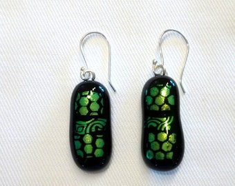 Fused glass, silver, black and green crochet earrings