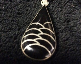 Vintage Black Onyx and Silver Pendant