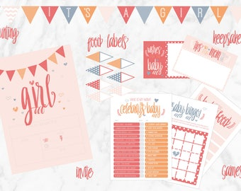 Girl Baby Shower Printable Party Pack | Games, Invites, Wishes, Bunting, Food Labels
