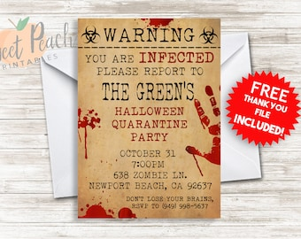 Halloween Party Invite Invitation 5x7 Zombie Infected Blood Scary Invitation