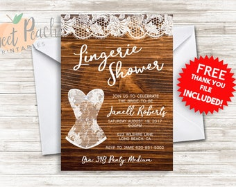 Rustic Lingerie Bridal Shower Invite 5x7 Digital Personalized Bridal Lingerie Shower Invitation