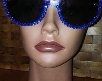 Blue bling cateye sunglasses