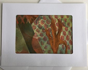 Greeting Card: #A15, made with an original monotype by Andi Warner