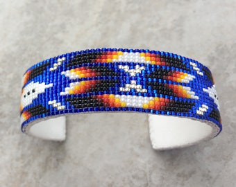 Beaded Bracelet, Navajo Jewelry,Native American Bracelet,navajo beads,native american jewelry,Beaded Navajo Cuff Bracelet,BLUE SPARKLE