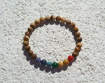 Seven Chakras Men Bracelet * Picture Jasper Men Bracelet * 7 Chakras Men Bracelet * Picture Jasper Men Mala Yoga Bracelet