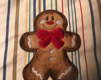 Striped Apron. Gingerbread Boy Applique.