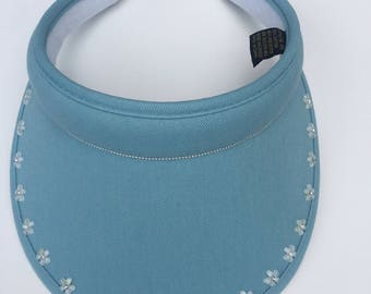 Women's golf sun visor with bling and diamante flowers,  sun hat, cap -  babyblue and clip-on