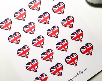 Mini British heart stickers - bullet journal stickers, planner stickers, erin condren stickers, scrapbooking stickers