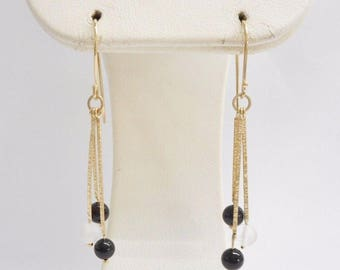 Gold Earrings, Dangle Earrings, Vintage Earrings, Genuine 14K Yellow Gold Black and White Bead Dangle Drop Hook Earrings #3534