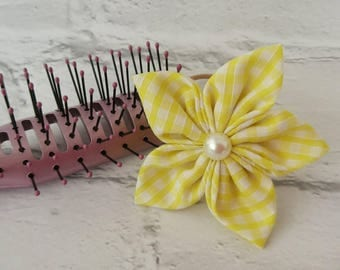 New school term, yellow hair clip, yellow bows, School hair clips, girls hair accessory, school bobbles, school uniform, yellow checked clip